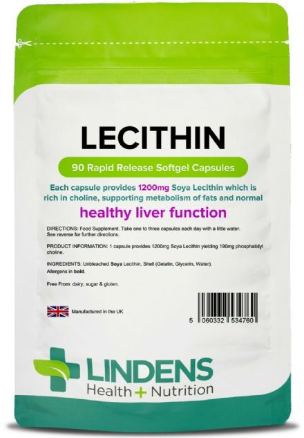 Lecithin 1200mg x 90 Rapid Release Softgel Capsules; Liver Support; Lindens